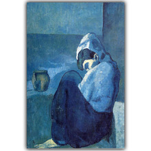 Pablo Picasso Famous Paintings Abstract Crouching Woman Image For Home Decoration Silk Fabric Print Poster Wallpaper CX184