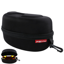 Home Portable Outdoor Hard Protective Ski Goggle Sunglasses Carrying Case Zipper Storage Bag with Buckle Hook Black