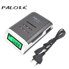 PALO C905W 4 Slots LCD Display Smart Intelligent li-ion Battery Charger For AA/AAA NiCd NiMh Rechargeable Batteries EU Plug