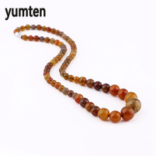 Yumten Dragons Agate Power Necklace Natural Stone Crystal Men Women's Jewelry Bead Chain Skyrim Sereia Portugal Wholesale 5 PCS(China)