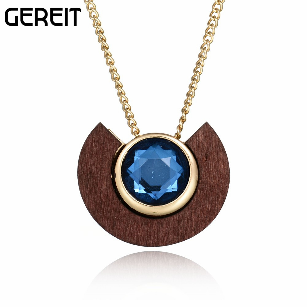 Greit Fashion Jewelry Imitation Gemstone Wood Pendant Necklace Women Gold-color Chain Long Necklace Collares Mujer Bijouterie(China (Mainland))