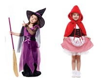 Kids New Halloween Costume Dress Girls Little Red Riding Hood Costume Dress Cute Witch Clothing for Masquerade Party