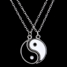 Yin Yang Necklace Chain Charm Pendant Black White 2PC/Set Best Friend Necklace Friendship Gifts Women Men Jewelry