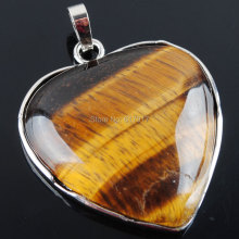 Free shipping Natural Tiger's Eye Gem Stone Heart Silver Plated Healing Reiki Chakra Pendant Bead 1PCS TN2004