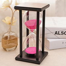 30 Minutes Transparent Crystal Black-framed Sandglass Hourglass Glass Sand Timer Clock Home Decor Wedding Decoration Accessories