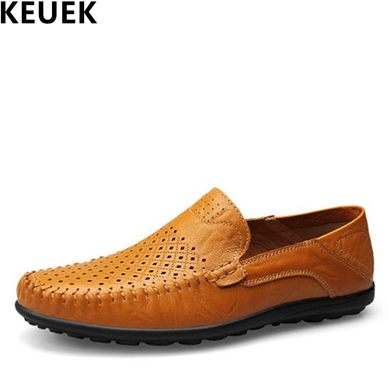 New arrival Spring Men Casual leather shoes Breathable Genuine leather Loafers Large size Flats Summer Driving shoes 3A<br>