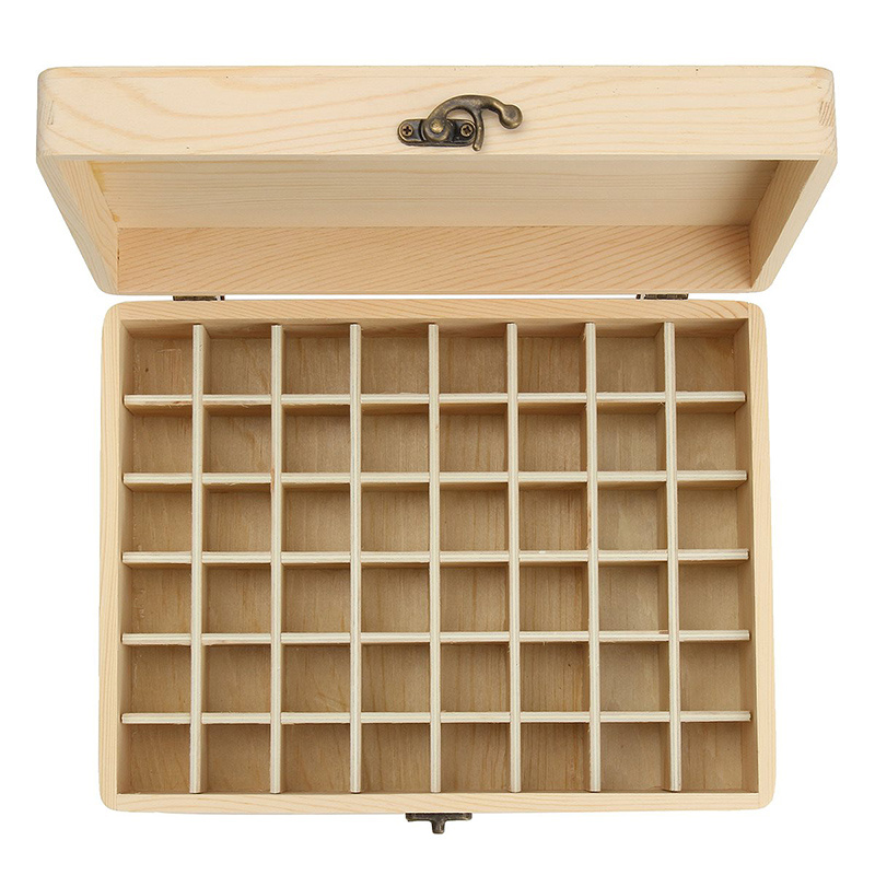 Solid Wood Essential Oil Bottle Storage Box Oversized Model Multiple Compartments Natural Essential Oil Display Case 8
