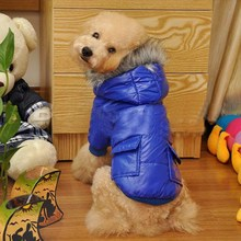S / M / L / XL/ XXL Cute Winter Pet Dog Clothes Wear Warm Hooded Jacket  Winter Polyester Coat Two Pocket Jacket Jumpsuit Cloth