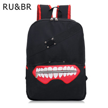 RU&BR New Fashion Anime Tokyo Ghoul Oxford Backpack High Quality Unisex Cartoon Bag Hot Sale Zipper Backpack Double Shoulder Bag(China)