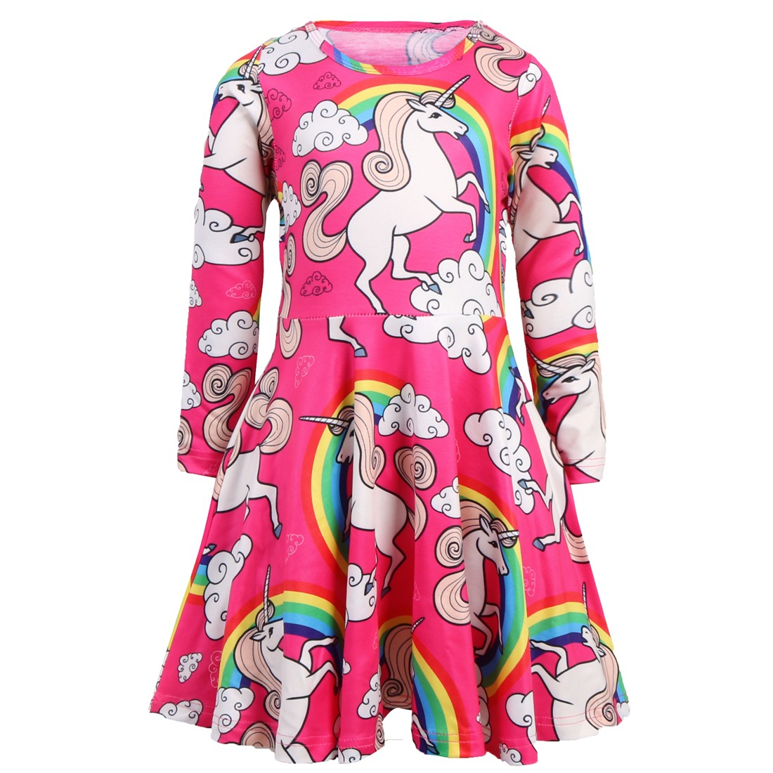 Little Girl Unicorn Dress Princess Rainbow Unicorn Dresses for Kids Girls Cotton Floral Long Sleeve Casual Clothes 5-10 Years