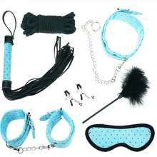 Buy Sex toys Couples 7pcs PU Leather Fetish Restraint Bondage Handcuffs Whip Collar Mask Ball Gag Adult Sex Product women