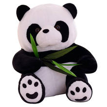 "1pcs 8""22CM Eat Bamboo Panda Plush Toys Sitting Panda Stuffed Dolls Soft Best Gifts For Kids Wholesale kawaii toys Free Shipping"