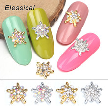 ELESSICAL 10pcs Sea Star Alloy Nail Charms Jewelry Nails Accessories Shining AB Rhinestone DIY Metal