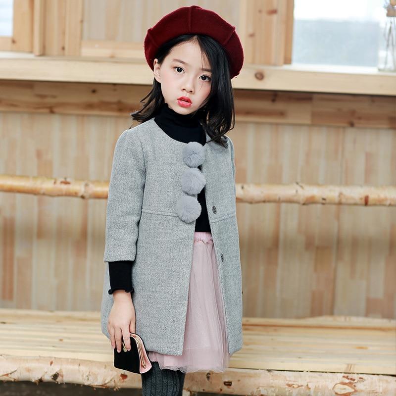 Good quality 2017 Autumn Winter Girls Woolen Coat Hair Ball Coat Children Gray Jacket Long Coat<br>