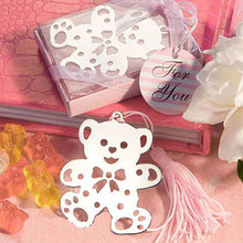 50pcs/lot Teddy Bear Silver Bookmark Tassel Favor Baby Shower Christening Party Event Book Markers Favours and Gifts