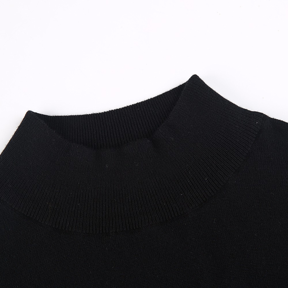 Black Turtleneck, Women's Knitted Sweater, Casual Long Sleeve Oversize Pullover 10