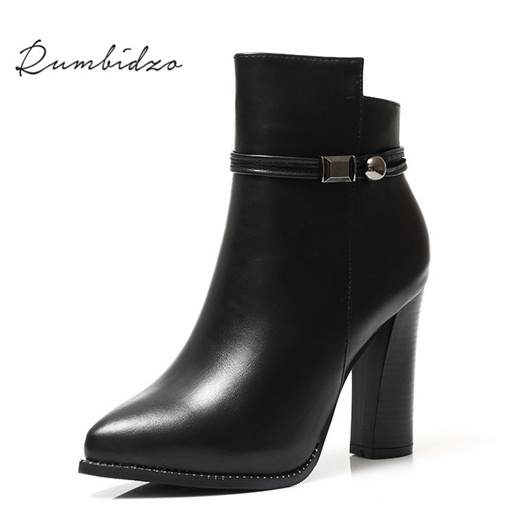 Rumbidzo Women Boots 2017 Fashion Chunky Heel Ankle Boots Pointed Toe Rivets Zip Mesh Bootie Sapatos<br>