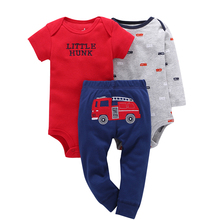 3Pcs Spring Summer Red Letter Short Sleeve Bodysuits+Grey Long Sleeve +Carribean Fire Truck Pants Baby Boy Clothes Sets V20