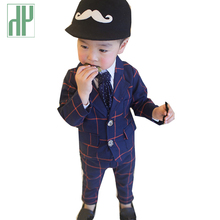 HH Boys blazer kids winter gentleman Formal baby boys clothes plaid suits for weddings Christmas jackets blazers two piece set