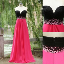 Vestidos 2015 Pink and Black Bridesmaid Dress for Wedding Prom Dress Maxi Women Cheap Dress with Beads Real Photo