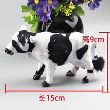 simualtion cow toy model plastic& furs 15x9cm mini dairy cow hard model home decoration Xmas gift w5778