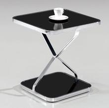 Stainless steel frame of toughened glass small tea table, square table.