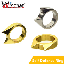 Wistino Self Defense Ring Tool Defensive Finger Ring Gear Life Survival Self Defense Emergency Rescue Self Tool