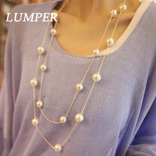 Buy LUMPER New Fashion Simple Double Chain Charm Simulated Pearl Necklace Long Sweater Chain Necklace Women 1012 for $1.50 in AliExpress store
