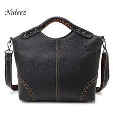 Nuleez Vintage Ladies Handbag Genuine Leather Bag Handmade Classic Women handbag Black Shoulder Bag Tote Bag Strap New 1222