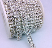 1 Yard SS16 Free Shipment Silver 2 Lines Clear Crystal  Strass Chain Rhinestone Chain Trimmings