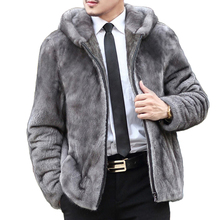 New 2017 Winter Men Hooded Short Faux Mink Fur Coats Male Casual Zipper Imitation Fur Outerwear Plus Size 4XL 5XL W1106