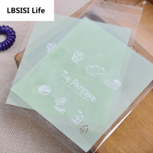 100pcs 10*10+3cm Green Cute Letter Self Adhesive DIY Chocolate Cookie Plastic bags Wedding Candy and Snack Food Packaging Bags