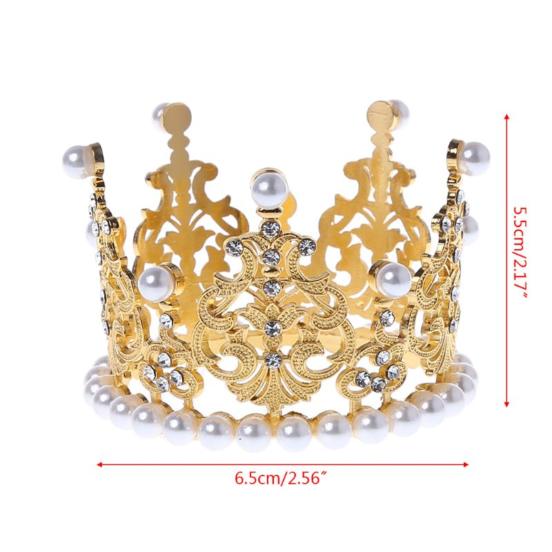 Baby Crown Photography Props Fashion Pearl Rhinestone Glitter Gold Silver Photo Birthday Party Decoration Girls Princess