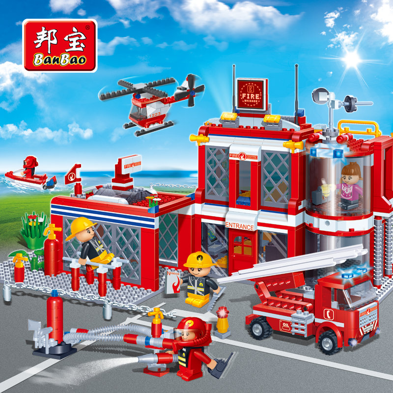 BanBao Fire Educational Building Blocks Toys For Children Kids Gifts Tobess City Hero Firefighters Truck Boat plane Sticker<br>