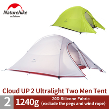 1.2KG NatureHike 2 Person Tent 20D Silicone/210T Plaid Fabric Tent Double-layer Camping Tent NH15T002-T(China)