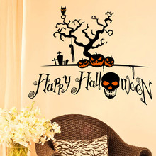 Halloween pumpkin decorations wall stickers Halloween wall stickers Shop holiday party window stickers autocolante espelho EY11(China)