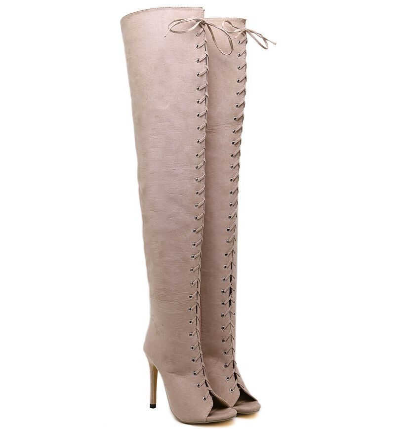 Size 4~9 Sexy Over-the-Knee Boots 12cm High Heels Women Shoes Peep-Toe Lace-Up Women Boots botas mujer (Check Foot Length)<br><br>Aliexpress