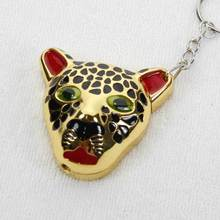 Free shipping  leopard Keychain Cigarette Lighter Novelty Flame butane gas Lighters refillable With Retail pack  597