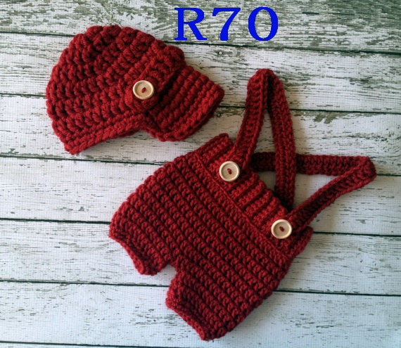 Free Shipping Handcrafted Crochet Baby Boy Hat With Diaper Cover Sets Newsboy Newborn