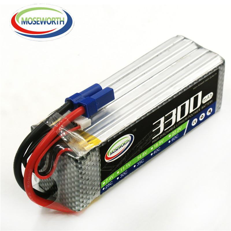 MOSEWORTH 6S RC Lipo Battery 22.2v 40C 3300mAh For RC Aircraft Quadcopter Boat Helicopter Drones Car Airplane Li-ion Battery 6S<br>