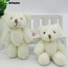 100PCS/LOT Kawaii Small Joint Teddy Bears Stuffed Plush 8CM Toy Teddy-Bear Mini Bear Ted Bears Plush Toys Wedding Gifts 0902