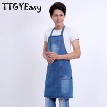 2017 New Aprons With pocket Cowboy Denim Antifouling Uniform Unisex Aprons for Woman Men painting cafe Kitchen Chef Waiter(China)