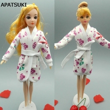 Doll Accessories Bathrobe Bathroom Suits Winter Pajama Wear Sleeping Casual Clothes For Barbie Doll Play House Toy Gift(China)