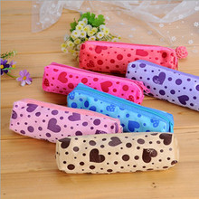 Dot Heart Printed Velvet Cute Cosmetic Bags Long Makeup Case for Woman Female Zipper Pencil Bags Case Candy Colors