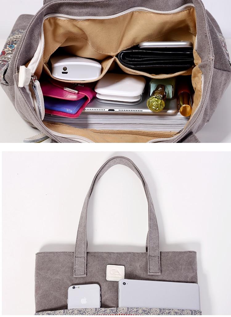 Canvasartisan Brand new canvas women handbags floral vintage female shopping shoulder bag zipper closure tote hand bags 6