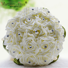 Bouquet De Fleurs Mariage White Bridal Bouquet Wedding Flowers Bridal Bouquets Green Silk Ribbons Crystal Bridal Bouquets