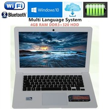 Cheapest Quad Core J1900 Laptops Computer with 14.1inch 1920x1080P FHD Screen 4GB RAM DDR3 & 320GB HDD WIFI HDMI 1.3MP HD Webcam