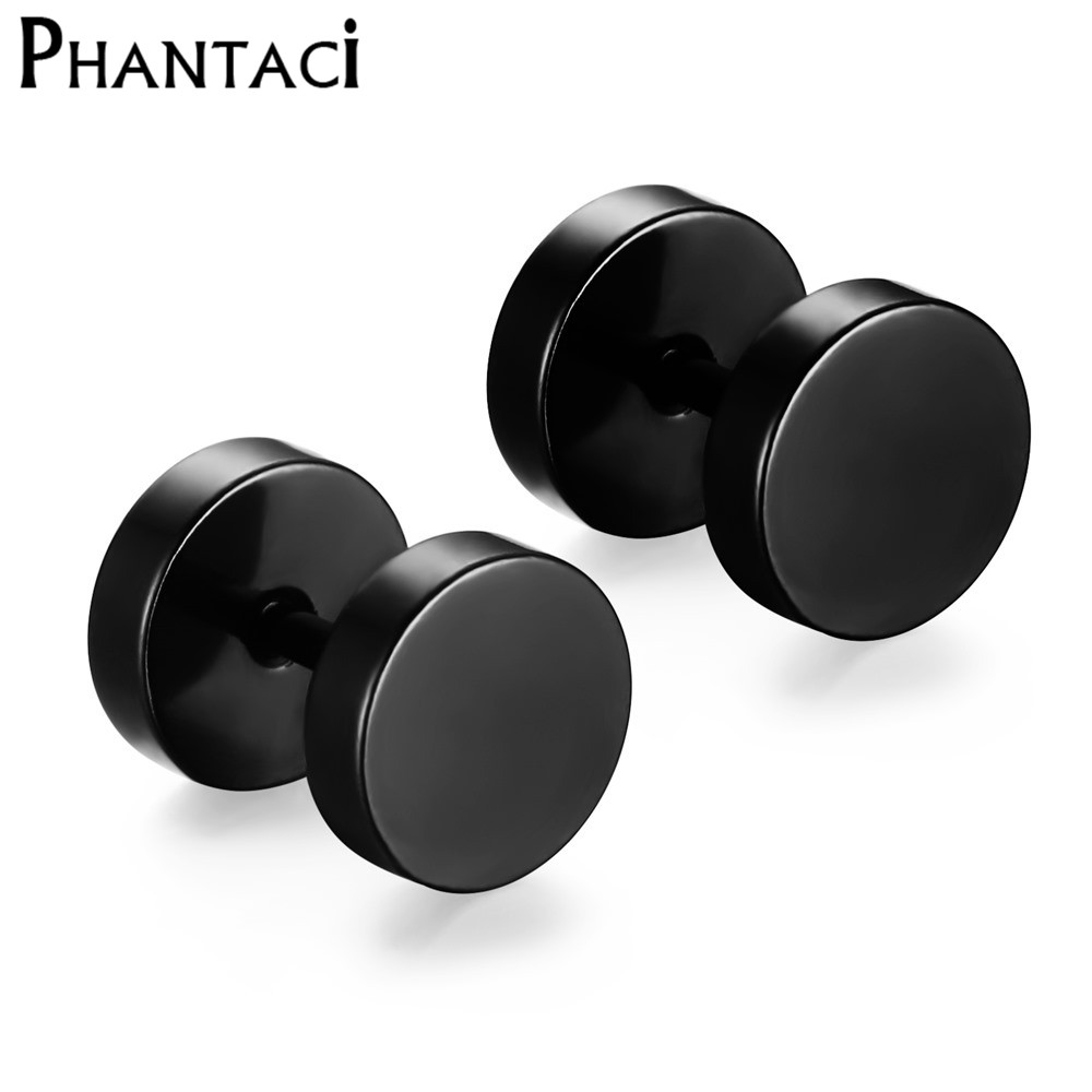 316L Stainless Steel Earrings Double Sided Round Bolt Stud Earrings For Men Women Punk Gothic Barbell Black Earrings Female Male(China)