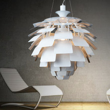 Nordic Modern Pine Cone Pendant Lights Fixture White/Silver Artichoke Lamps Home Indoor Lighting Aluminium Hanging Lamp D60cm