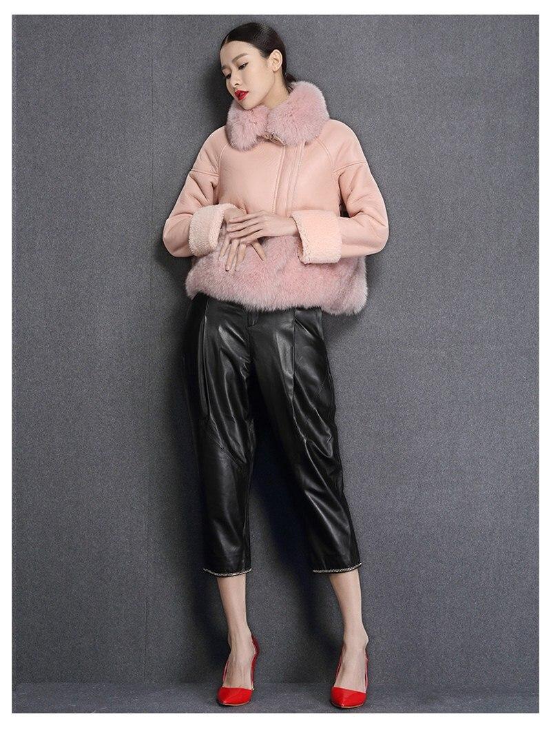 genuine sheep leatherskin jacket fox fur cooar coats (11)